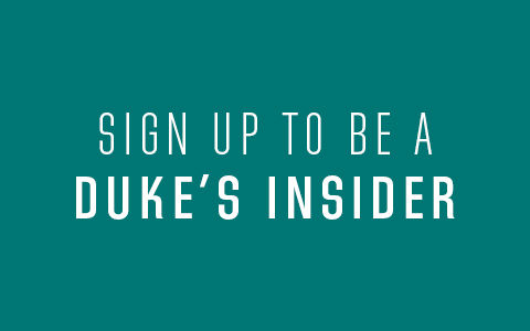 Sign up to be a Duke's Insider text on teal background