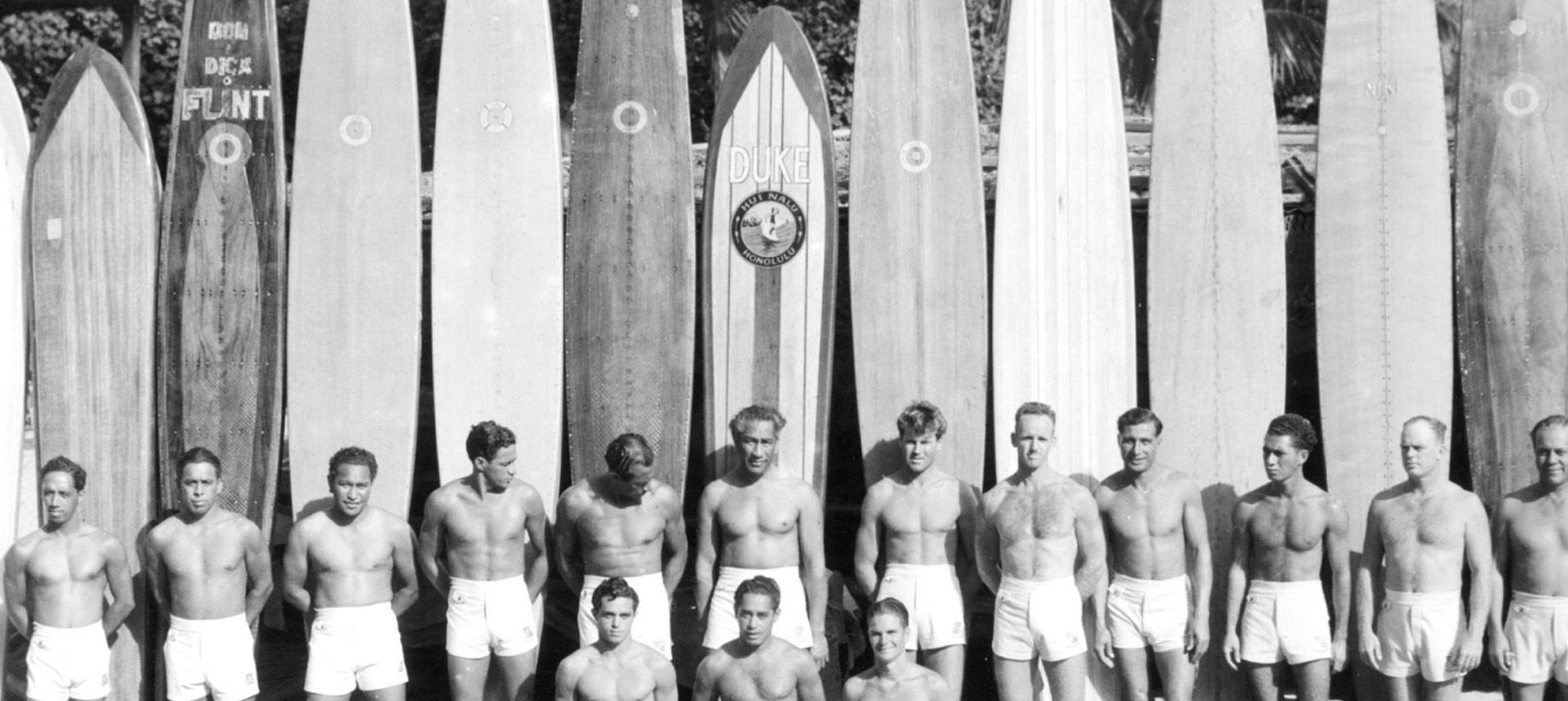 A group of surfers with Duke