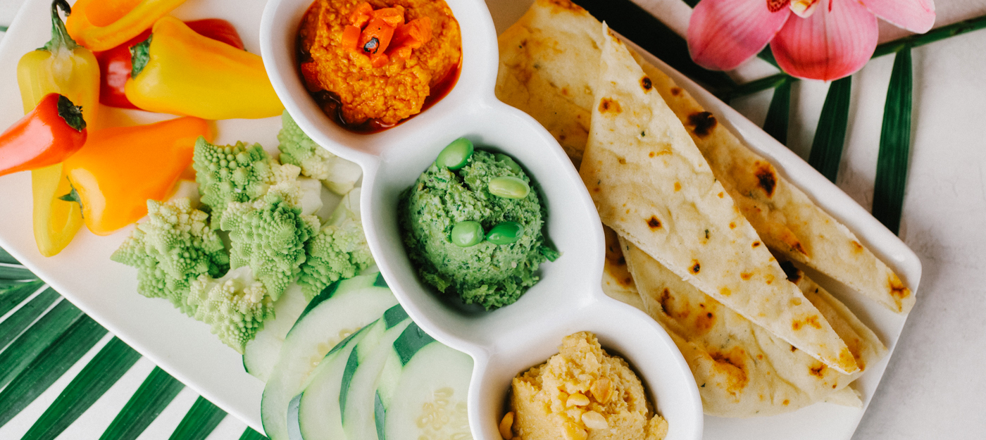 Appetizer with a variety of dips