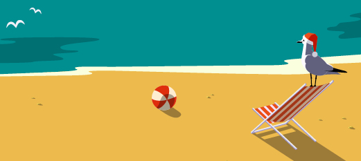 Cartoon of a sandy beach with a bird, chair, and volleyball