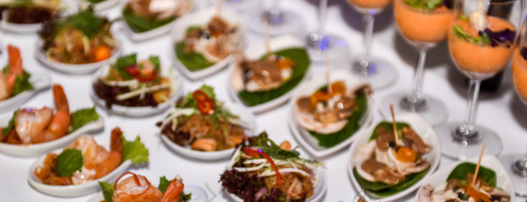 Small bites and beverages at an event